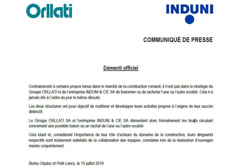 ORLLATI-INDUNI - Communiqué de presse